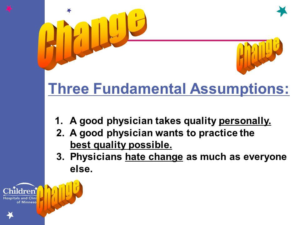 Three Fundamental Assumptions: 1.A good physician takes quality personally. 2. A good physician wants to practice the best quality possible. 3. Physic