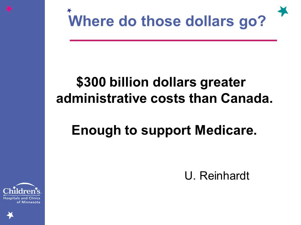$300 billion dollars greater administrative costs than Canada. Enough to support Medicare. U. Reinhardt Where do those dollars go?