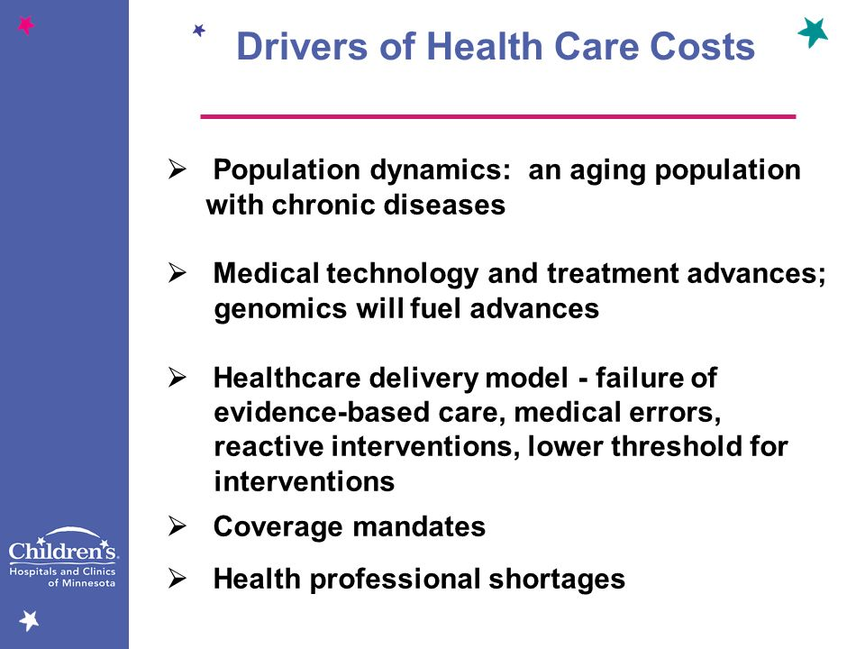 Drivers of Health Care Costs Population dynamics: an aging population with chronic diseases Medical technology and treatment advances; genomics will f