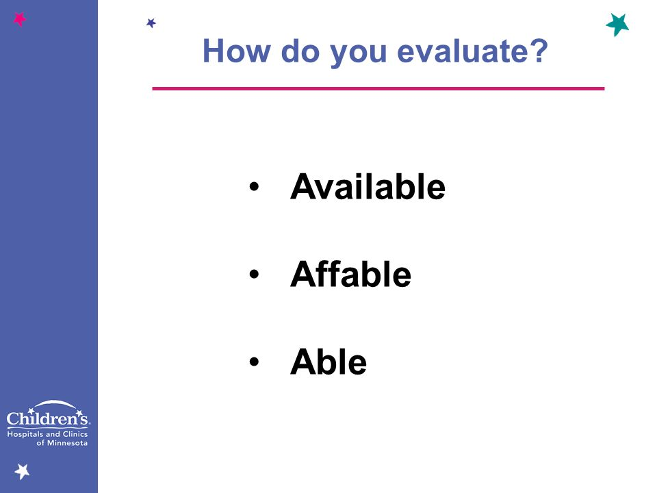 Available Affable Able How do you evaluate?