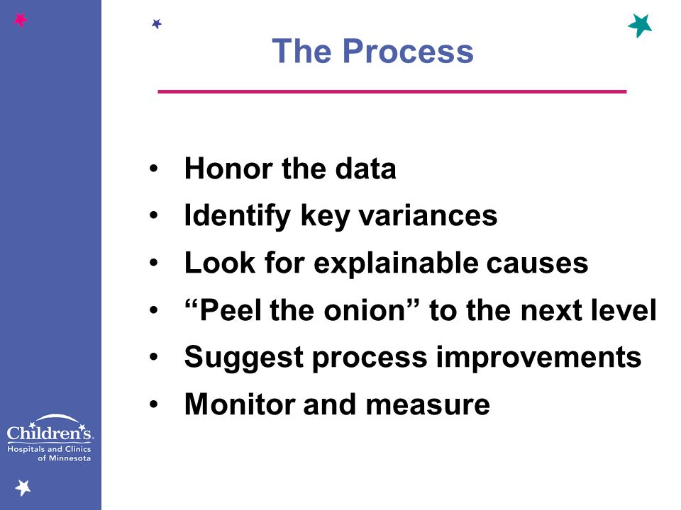 The Process Honor the data Identify key variances Look for explainable causes Peel the onion to the next level Suggest process improvements Monitor an