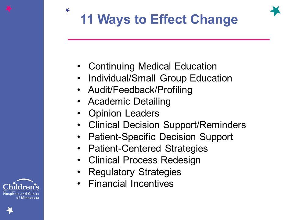 11 Ways to Effect Change Continuing Medical Education Individual/Small Group Education Audit/Feedback/Profiling Academic Detailing Opinion Leaders Cli