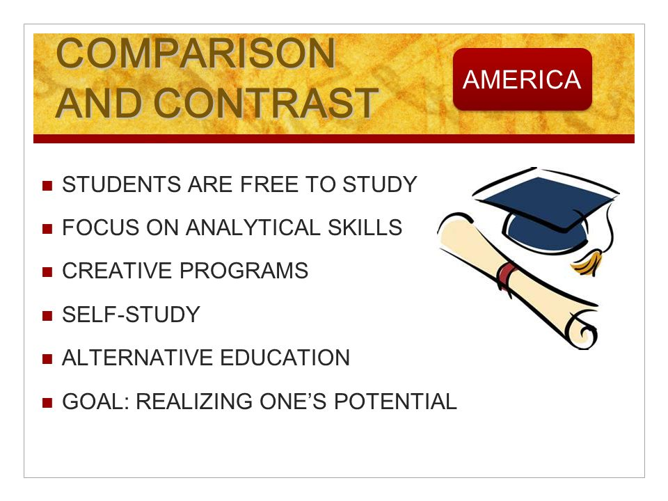 COMPARISON AND CONTRAST STUDENTS ARE FREE TO STUDY FOCUS ON ANALYTICAL SKILLS CREATIVE PROGRAMS SELF-STUDY ALTERNATIVE EDUCATION GOAL: REALIZING ONES