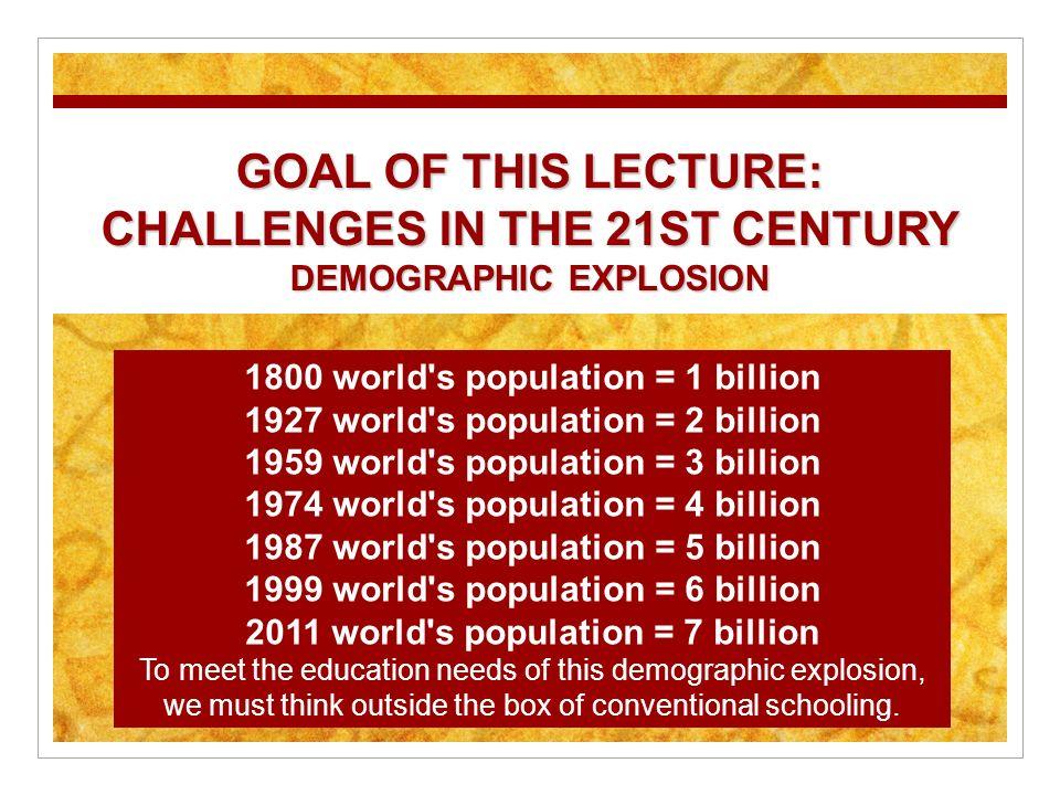 1800 world's population = 1 billion 1927 world's population = 2 billion 1959 world's population = 3 billion 1974 world's population = 4 billion 1987 w