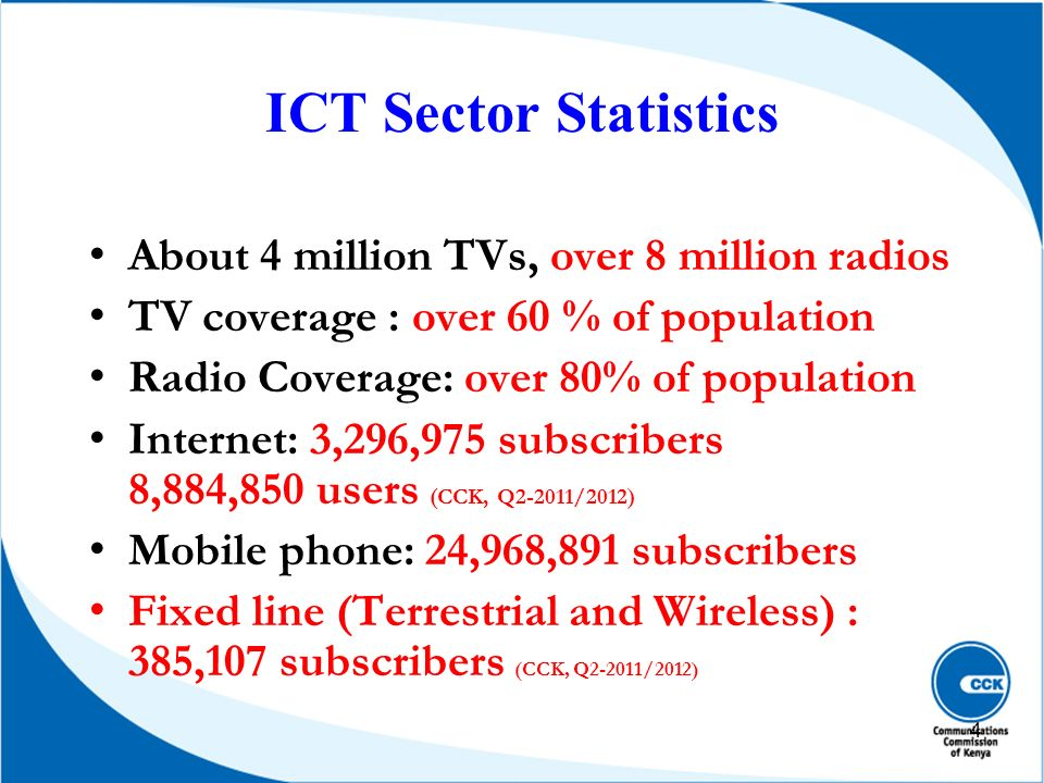 ICT Sector Statistics About 4 million TVs, over 8 million radios TV coverage : over 60 % of population Radio Coverage: over 80% of population Internet