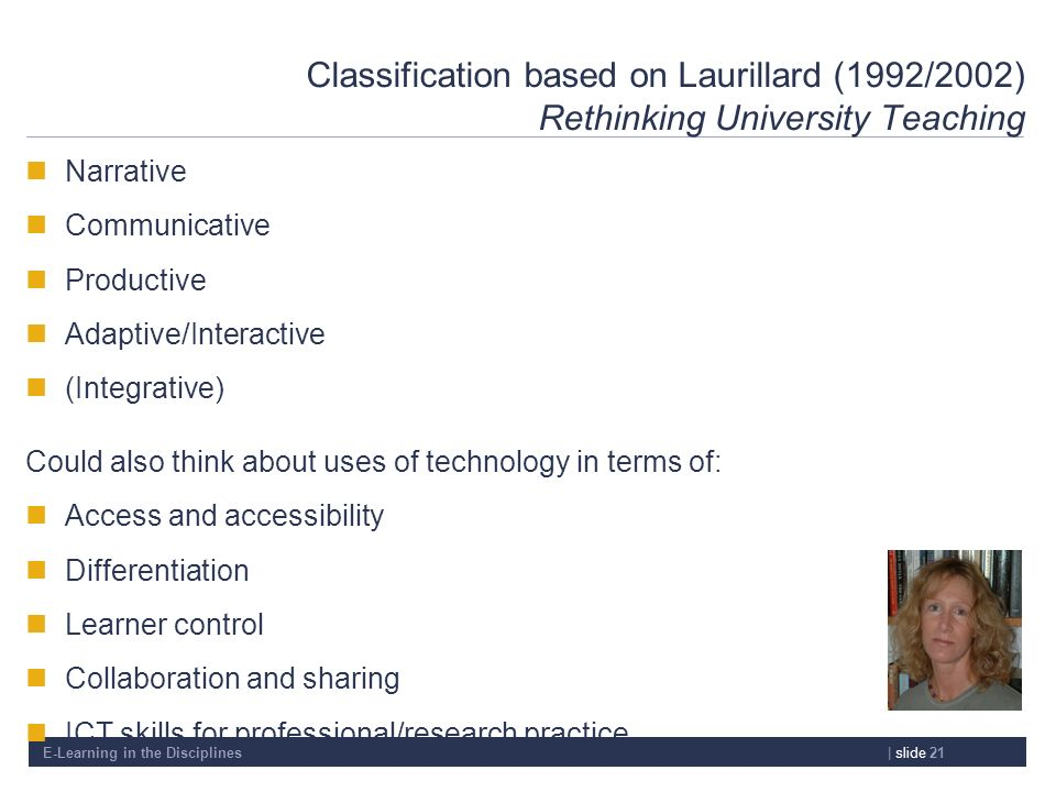 E-Learning in the Disciplines| slide 21 Classification based on Laurillard (1992/2002) Rethinking University Teaching Narrative Communicative Producti