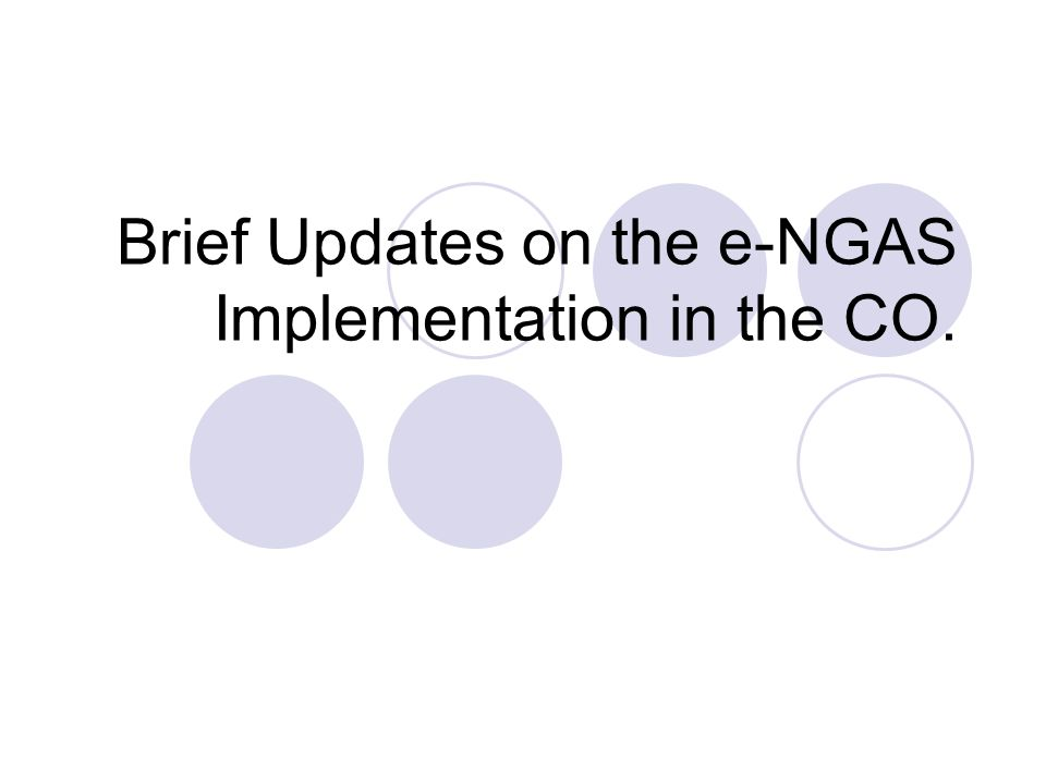 Brief Updates on the e-NGAS Implementation in the CO.