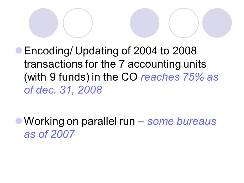 Encoding/ Updating of 2004 to 2008 transactions for the 7 accounting units (with 9 funds) in the CO reaches 75% as of dec.