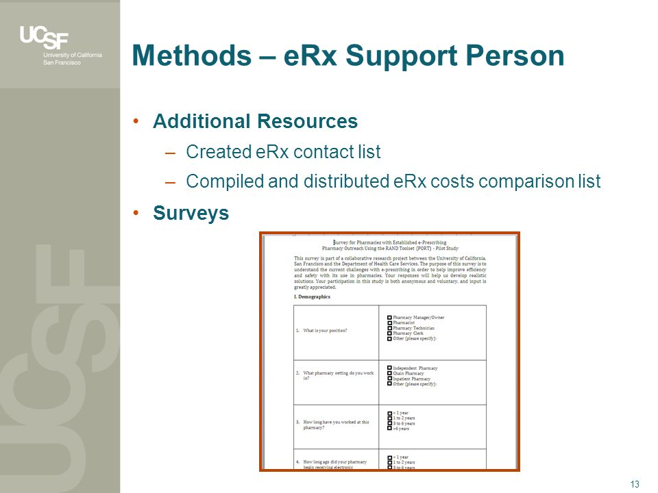 13 Methods – eRx Support Person Additional Resources –Created eRx contact list –Compiled and distributed eRx costs comparison list Surveys