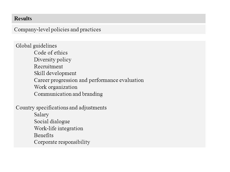 Results Company-level policies and practices Global guidelines Code of ethics Diversity policy Recruitment Skill development Career progression and pe