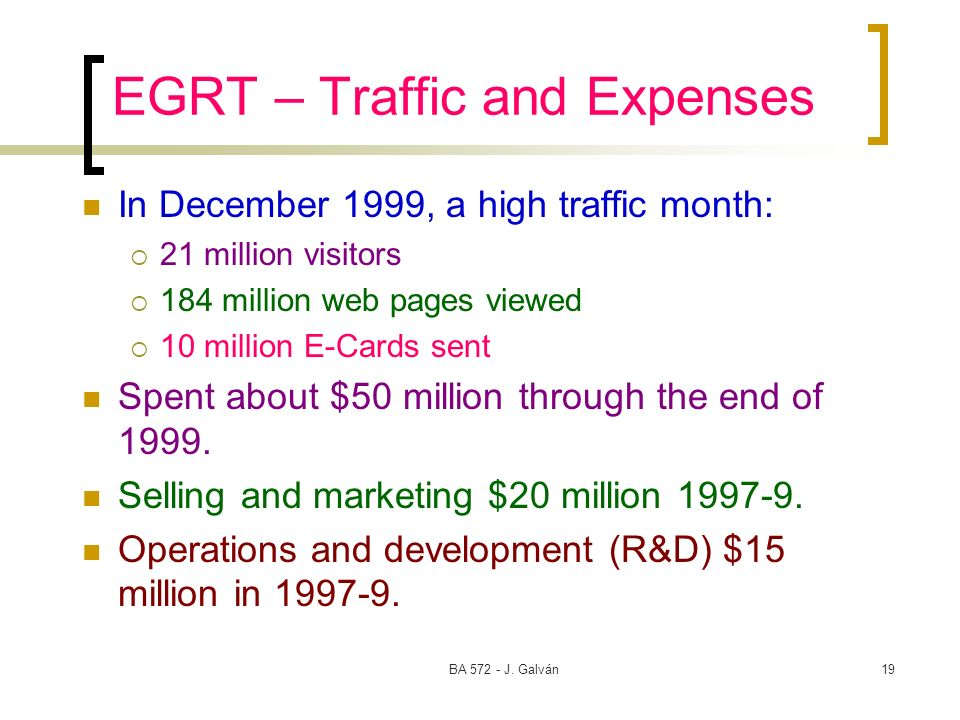 BA 572 - J. Galván19 EGRT – Traffic and Expenses In December 1999, a high traffic month: 21 million visitors 184 million web pages viewed 10 million E