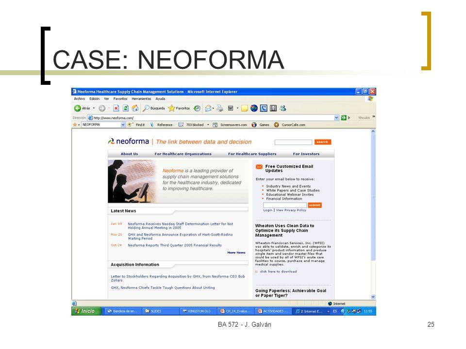 BA 572 - J. Galván25 CASE: NEOFORMA