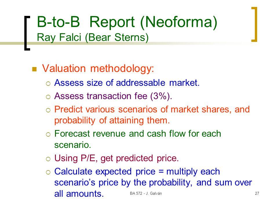 BA 572 - J. Galván27 B-to-B Report (Neoforma) Ray Falci (Bear Sterns) Valuation methodology: Assess size of addressable market. Assess transaction fee