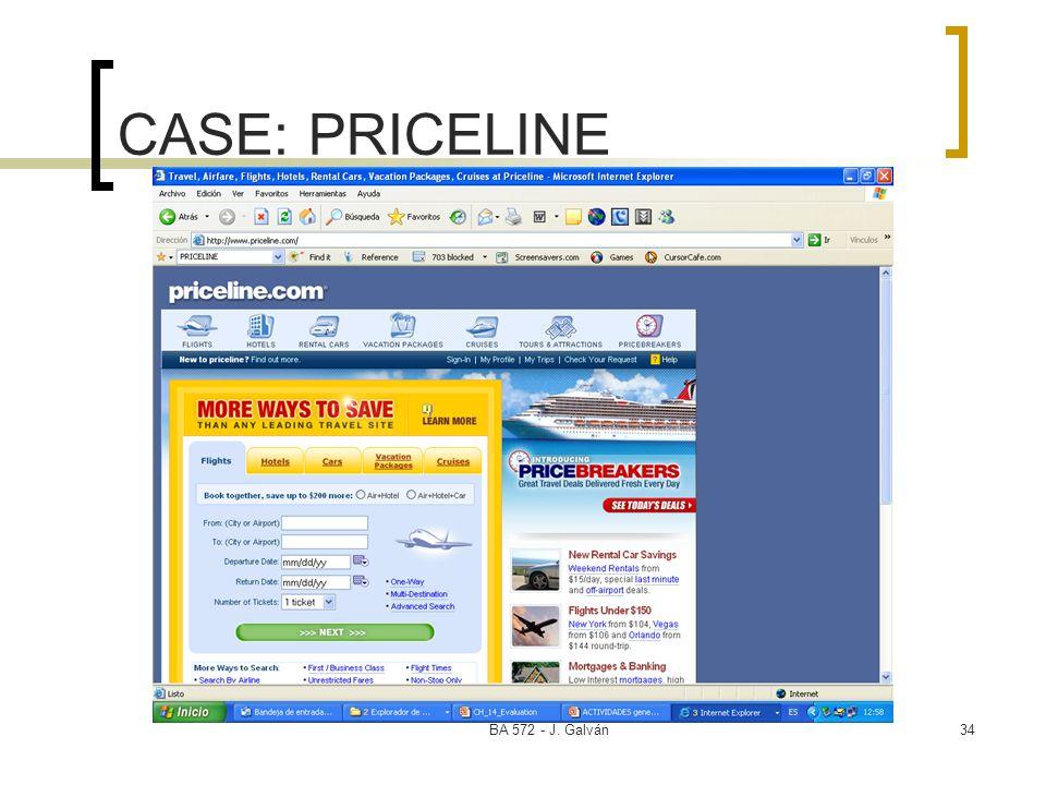 BA 572 - J. Galván34 CASE: PRICELINE