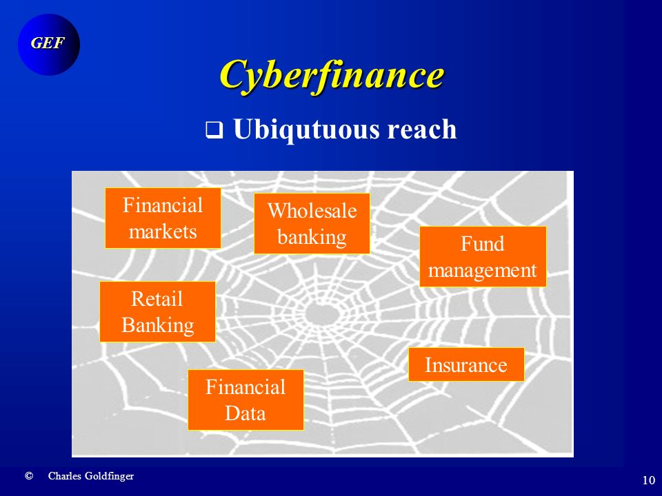 © Charles Goldfinger GEF 9 Financial hurricane Cyberfinance Financial services is the domain where Internet impact has been the strongest E-commerce m