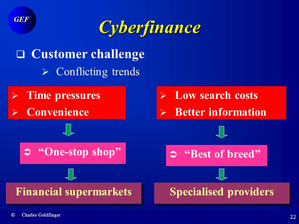 © Charles Goldfinger GEF 21 Cyberfinance Customer challenge Willingness to search Quality imperative Willingness to shop Willingness to pay Failure to