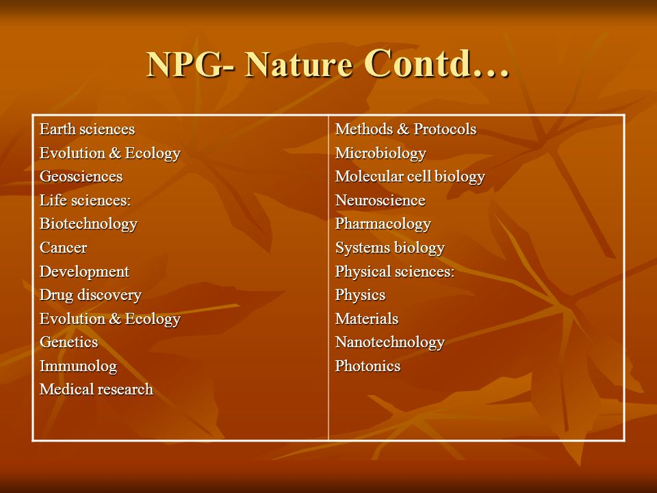 18 8. NPG- Nature http://www.nature.com http://www.nature.com Subject Strengths Chemistry: Chemistry Drug discovery BiotechnologyMaterials Methods & P