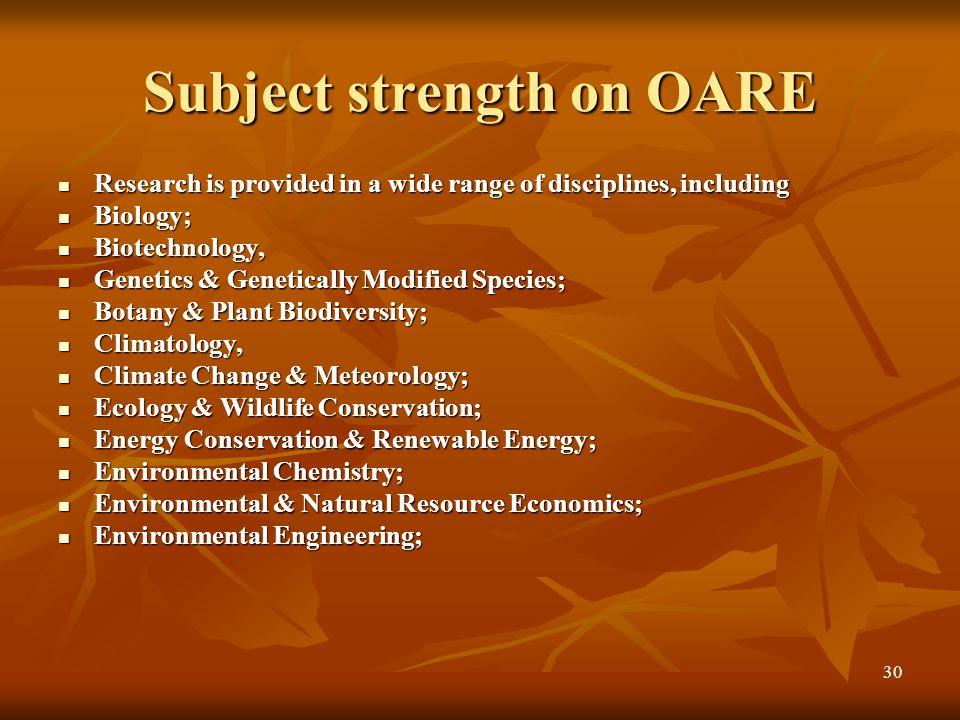 29 OARE (Online Access to Research Environment) http://www.oaresciences.org http://www.oaresciences.org OARE, an international public-private consorti