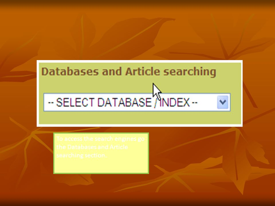 This will take you to the Journals page. There are a number of databases and bibliographic indexes, accessible from the list on the right hand side of