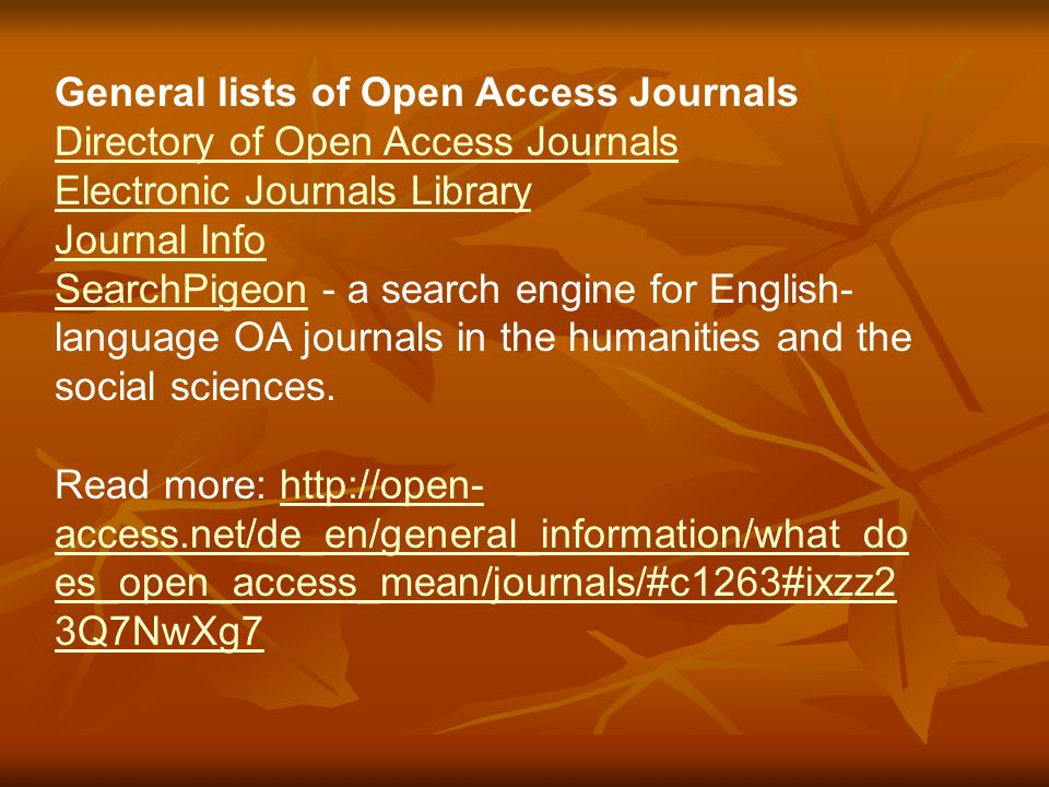 Some other important Websites: Providing links to the world's electronic journals: http://www.e-journals.org/ Free E-books http://ebooksgo.org/ 350 e-