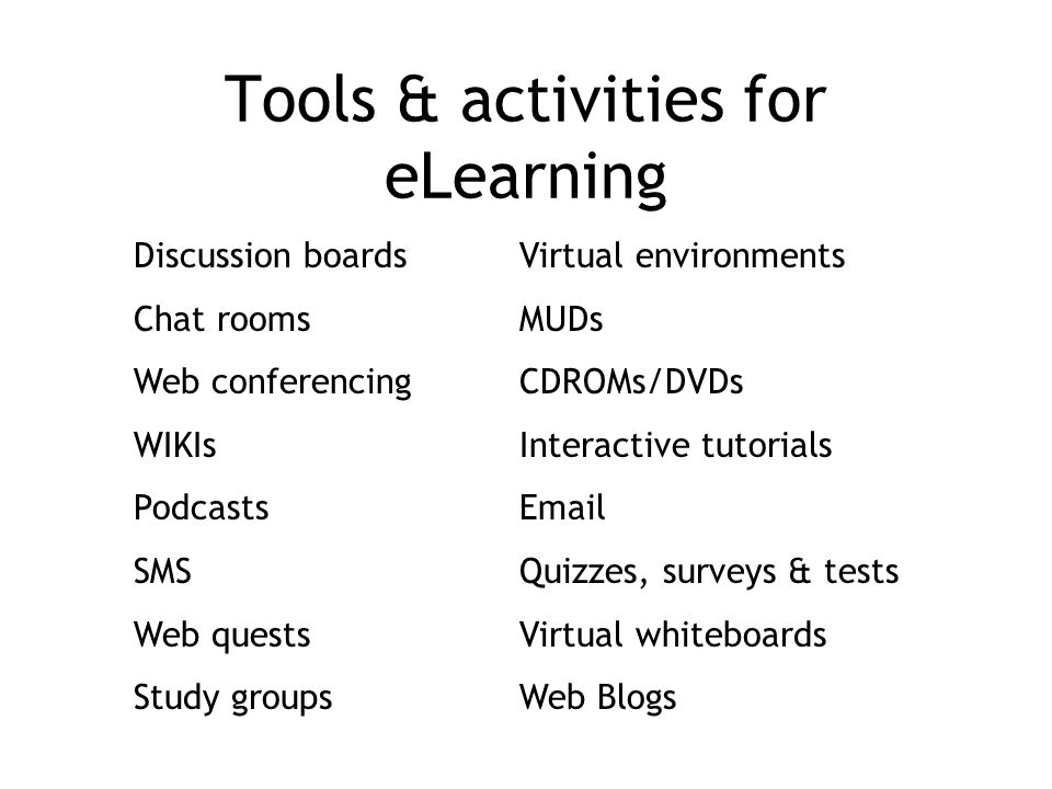 Tools & activities for eLearning Discussion boards Chat rooms Web conferencing WIKIs Podcasts SMS Web quests Study groups Virtual environments MUDs CDROMs/DVDs Interactive tutorials Email Quizzes, surveys & tests Virtual whiteboards Web Blogs