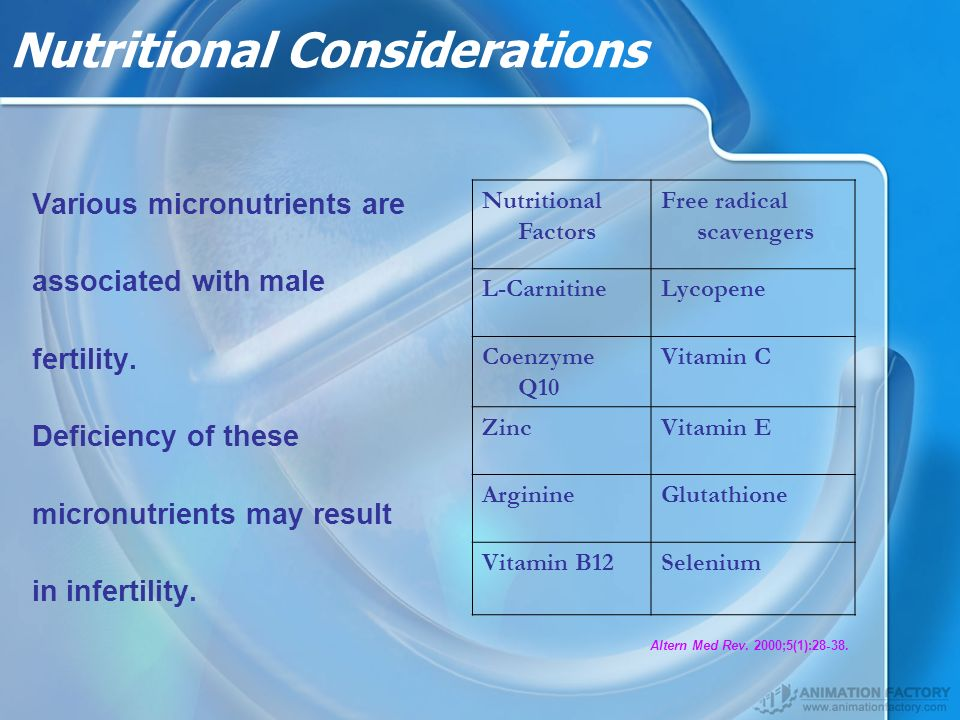 Nutritional Considerations Various micronutrients are associated with male fertility.