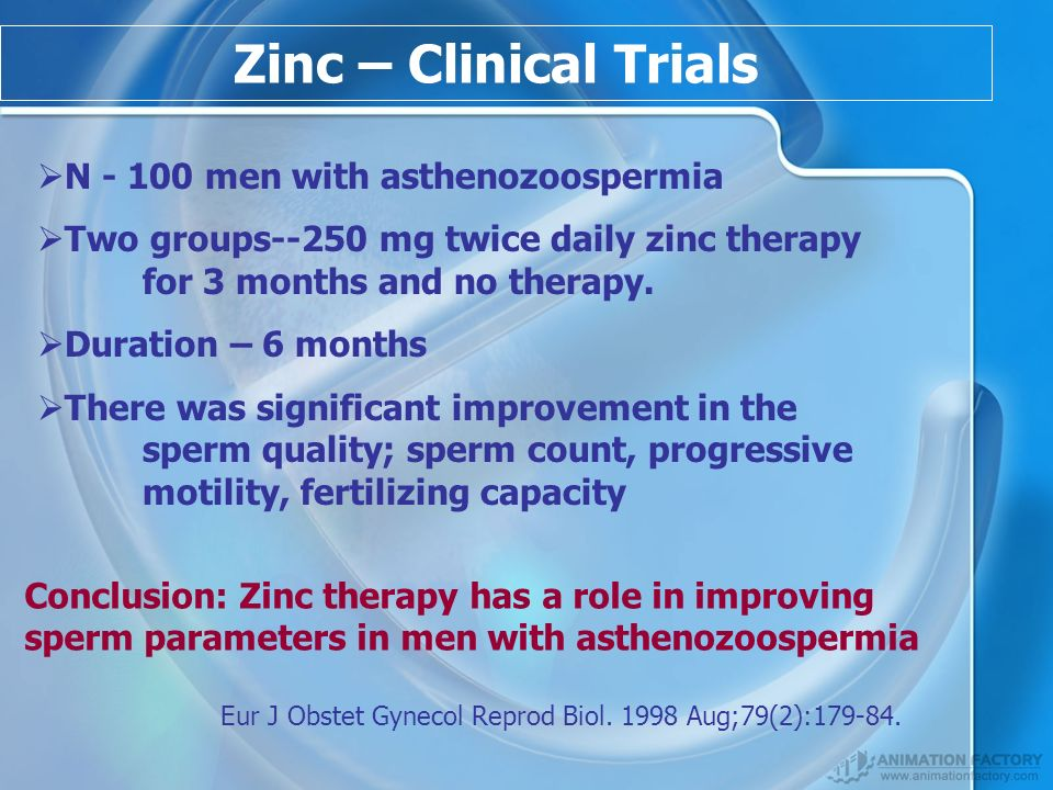 Zinc – Clinical Trials N - 100 men with asthenozoospermia Two groups--250 mg twice daily zinc therapy for 3 months and no therapy.
