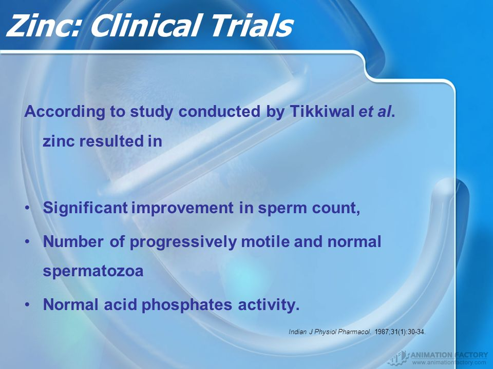 Zinc: Clinical Trials According to study conducted by Tikkiwal et al.
