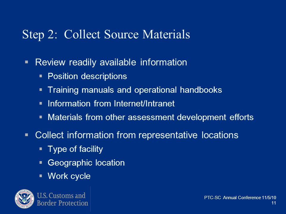 PTC-SC Annual Conference 11/5/10 11 Step 2: Collect Source Materials Review readily available information Position descriptions Training manuals and o
