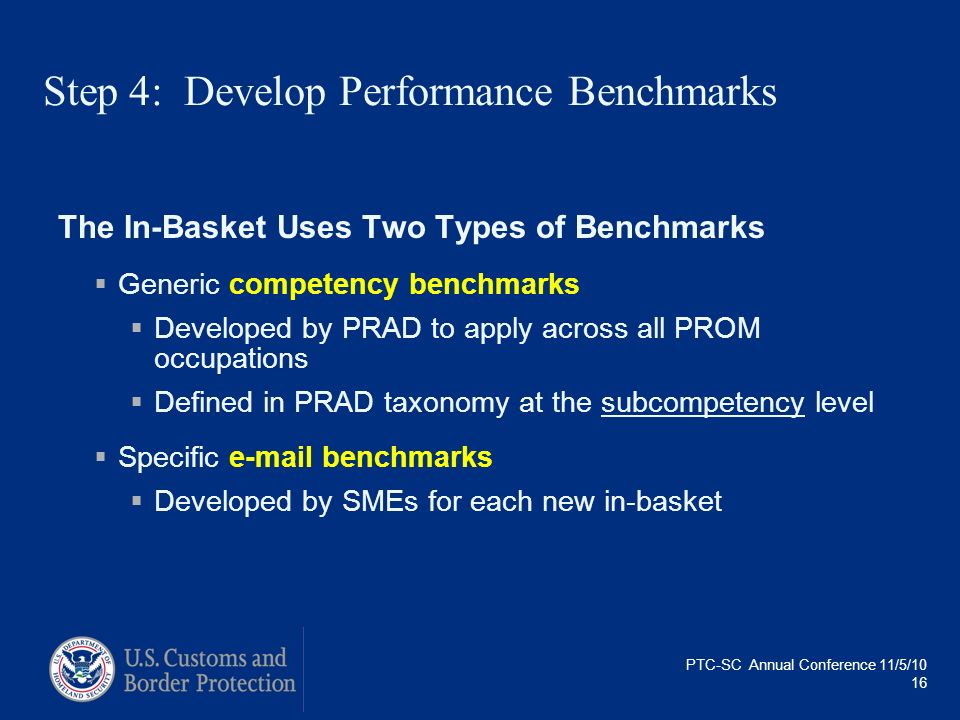 PTC-SC Annual Conference 11/5/10 16 Step 4: Develop Performance Benchmarks The In-Basket Uses Two Types of Benchmarks Generic competency benchmarks De