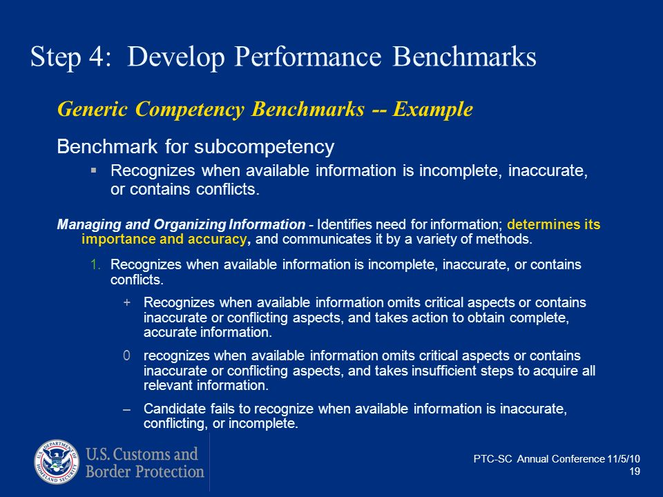 PTC-SC Annual Conference 11/5/10 19 Generic Competency Benchmarks -- Example Benchmark for subcompetency Recognizes when available information is inco