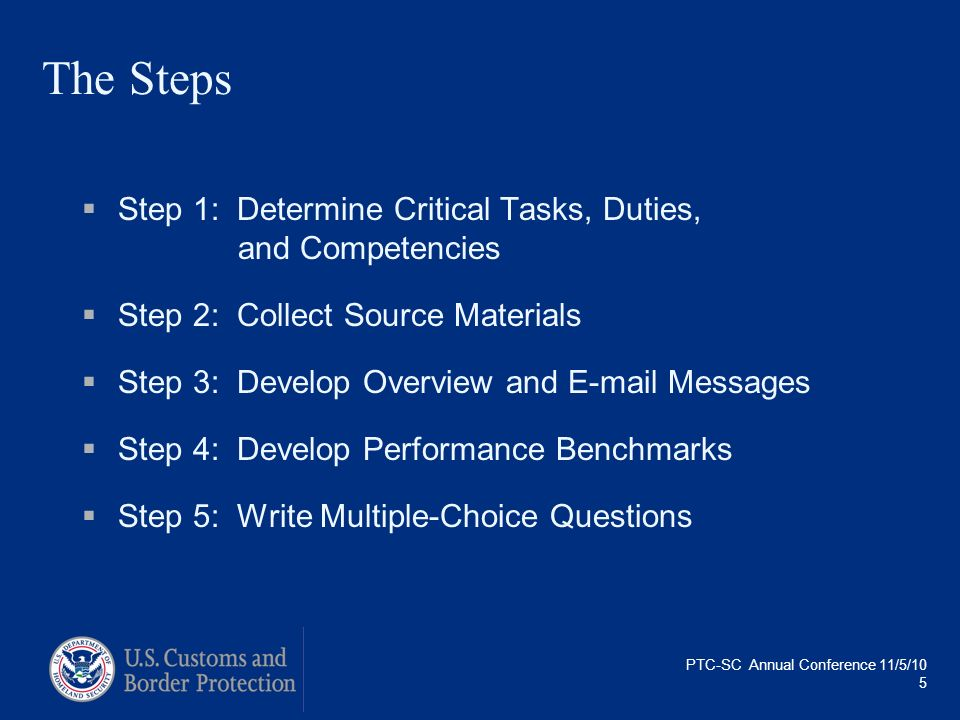 PTC-SC Annual Conference 11/5/10 5 The Steps Step 1: Determine Critical Tasks, Duties, and Competencies Step 2: Collect Source Materials Step 3: Devel
