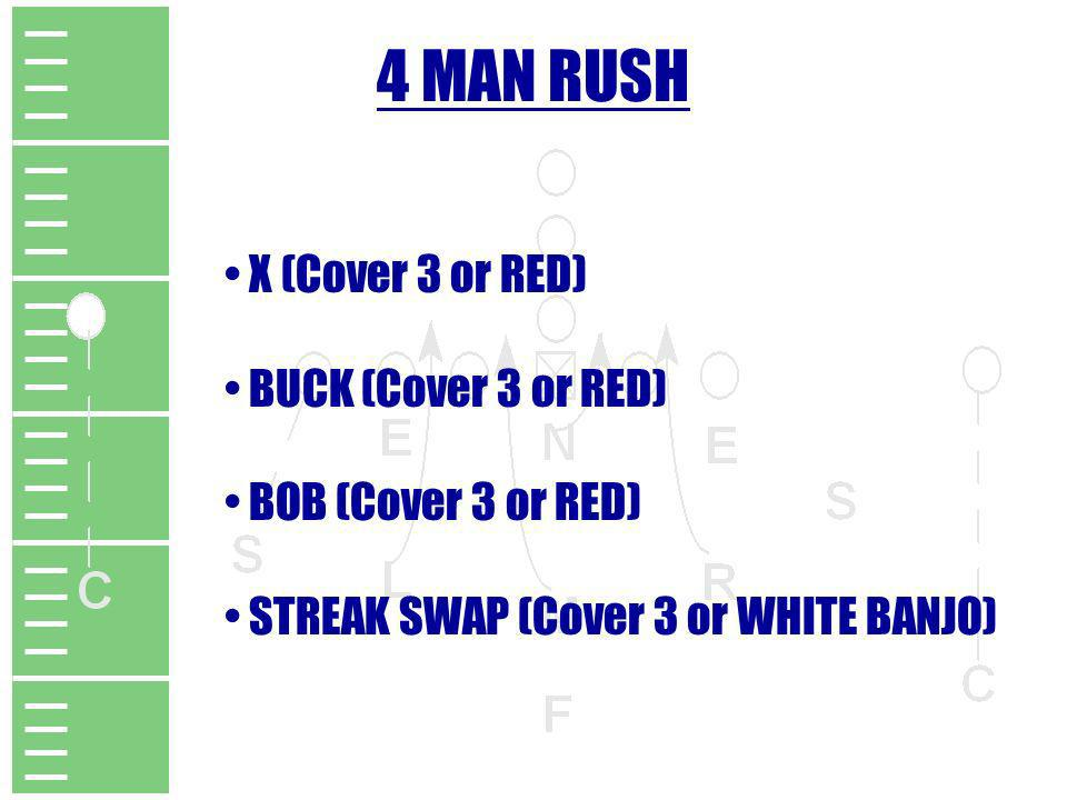 4 MAN RUSH X (Cover 3 or RED) BUCK (Cover 3 or RED) BOB (Cover 3 or RED) STREAK SWAP (Cover 3 or WHITE BANJO)