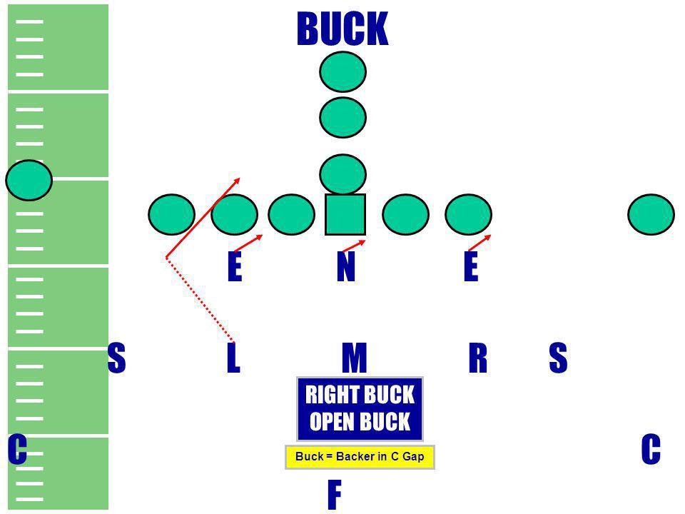 BUCK E N E S L M R S C F RIGHT BUCK OPEN BUCK Buck = Backer in C Gap