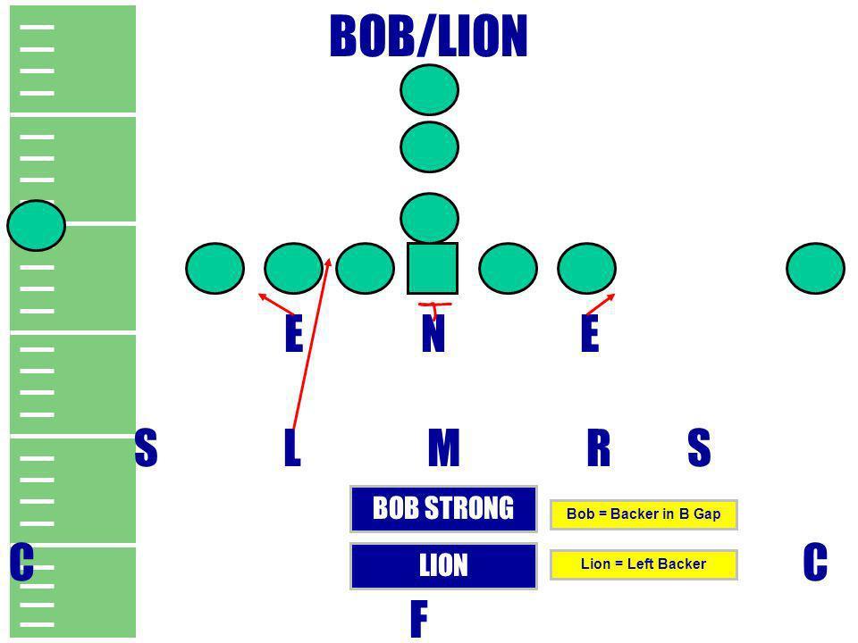 BOB/LION E N E S L M R S C F BOB STRONG LION Bob = Backer in B Gap Lion = Left Backer