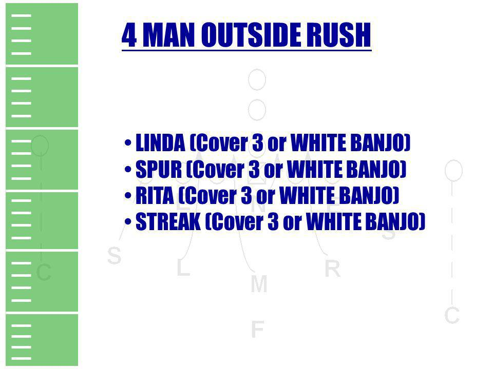 4 MAN OUTSIDE RUSH LINDA (Cover 3 or WHITE BANJO) SPUR (Cover 3 or WHITE BANJO) RITA (Cover 3 or WHITE BANJO) STREAK (Cover 3 or WHITE BANJO)