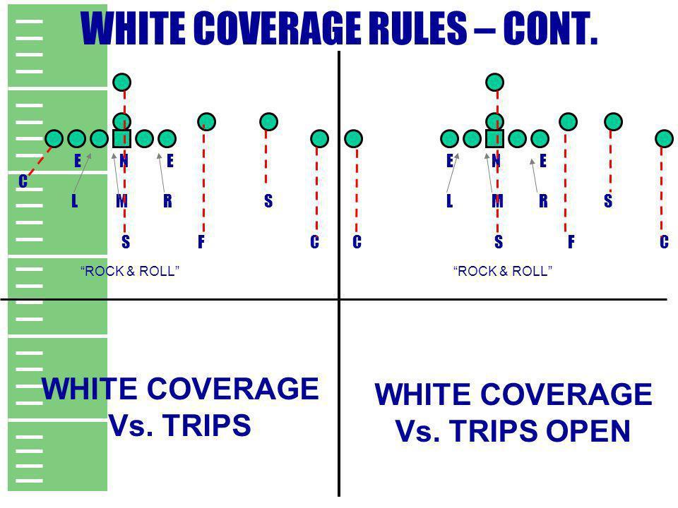 WHITE COVERAGE RULES – CONT. E N E C L M R S S F C E N E L M R S C S F C WHITE COVERAGE Vs. TRIPS WHITE COVERAGE Vs. TRIPS OPEN ROCK & ROLL