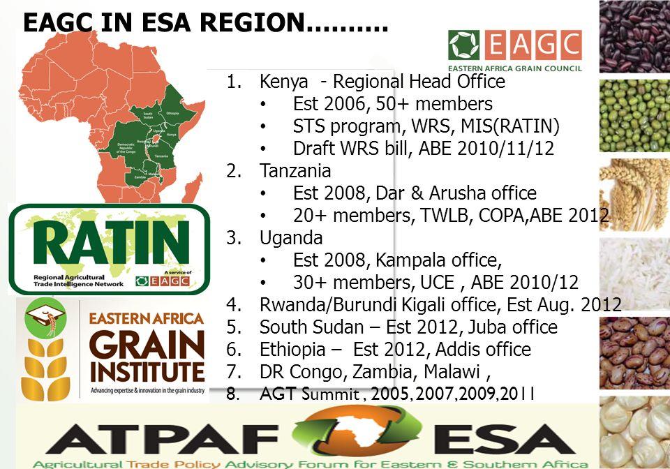 1. Kenya - Regional Head Office Est 2006, 50+ members STS program, WRS, MIS(RATIN) Draft WRS bill, ABE 2010/11/12 2. Tanzania Est 2008, Dar & Arusha o
