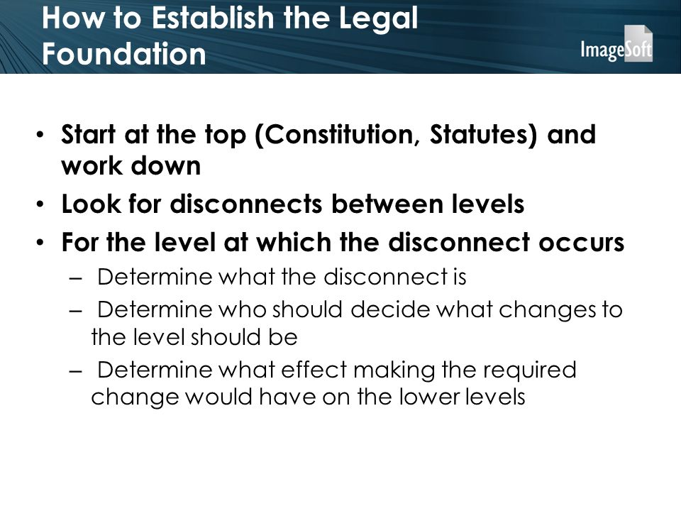 How to Establish the Legal Foundation Start at the top (Constitution, Statutes) and work down Look for disconnects between levels For the level at which the disconnect occurs – Determine what the disconnect is – Determine who should decide what changes to the level should be – Determine what effect making the required change would have on the lower levels