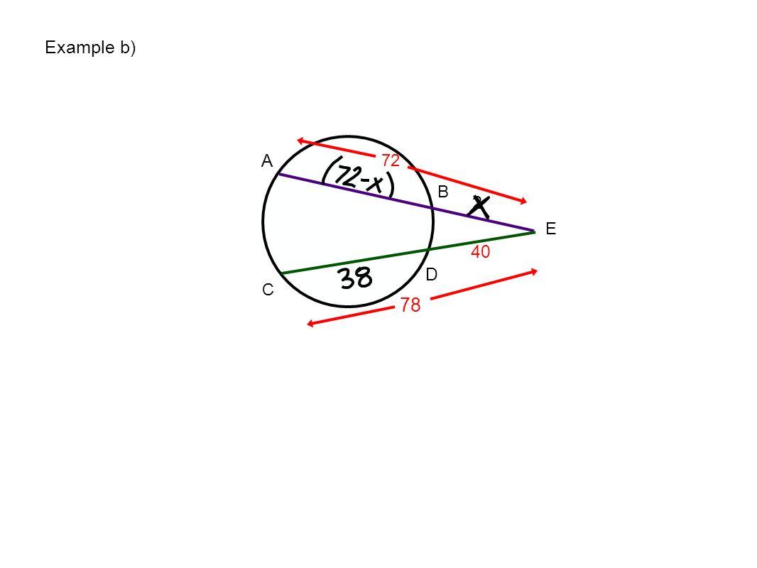 E A B C D 72 40 2 78 Example b)