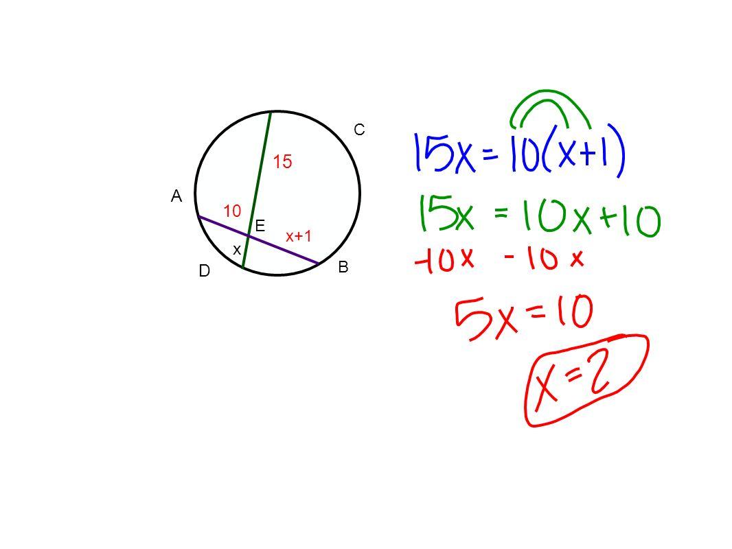 D A C B E 15 10 x+1 x