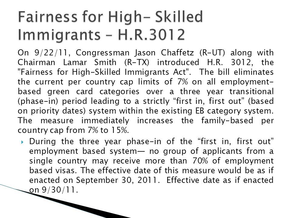 On 9/22/11, Congressman Jason Chaffetz (R-UT) along with Chairman Lamar Smith (R-TX) introduced H.R. 3012, the