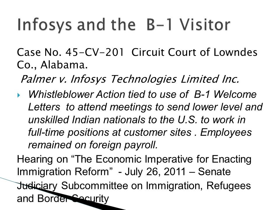 Case No. 45-CV-201 Circuit Court of Lowndes Co., Alabama. Palmer v. Infosys Technologies Limited Inc. Whistleblower Action tied to use of B-1 Welcome