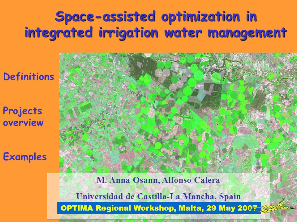 Space-assisted optimization in integrated irrigation water management M.