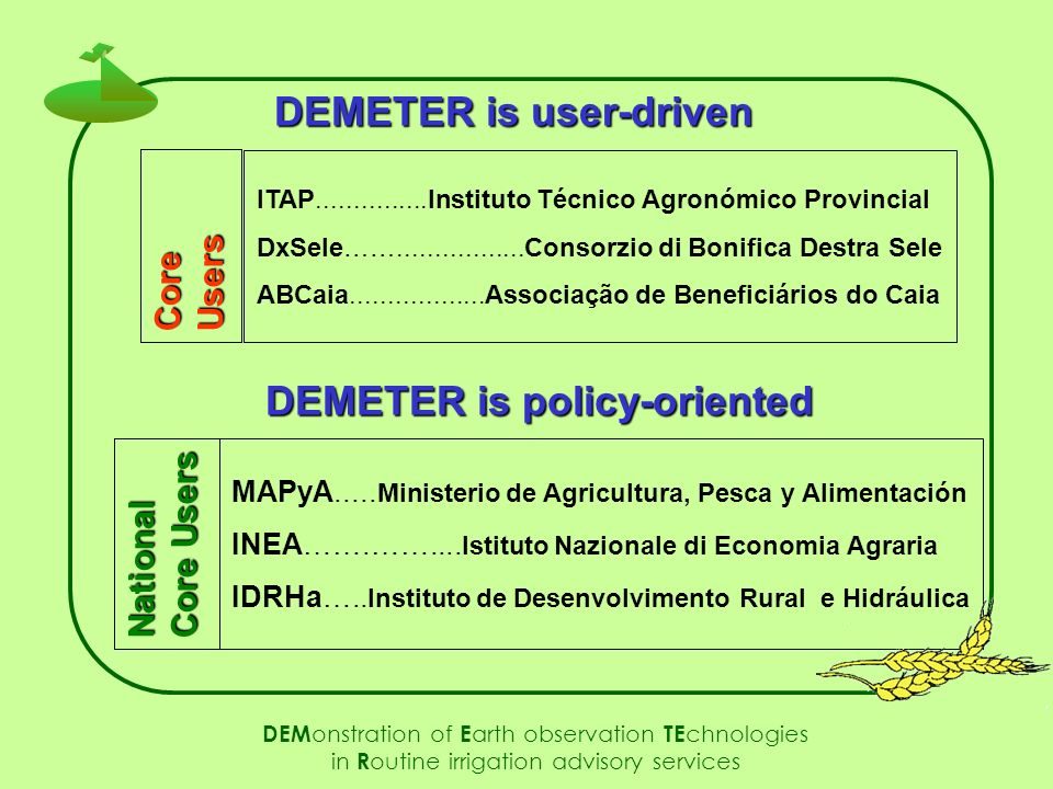 MAPyA..... Ministerio de Agricultura, Pesca y Alimentación INEA…….…….... Istituto Nazionale di Economia Agraria IDRHa….. Instituto de Desenvolvimento
