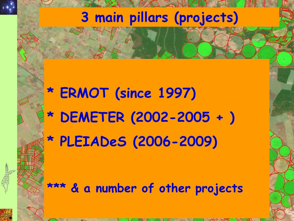 3 main pillars (projects) * ERMOT (since 1997) * DEMETER (2002-2005 + ) * PLEIADeS (2006-2009) *** & a number of other projects