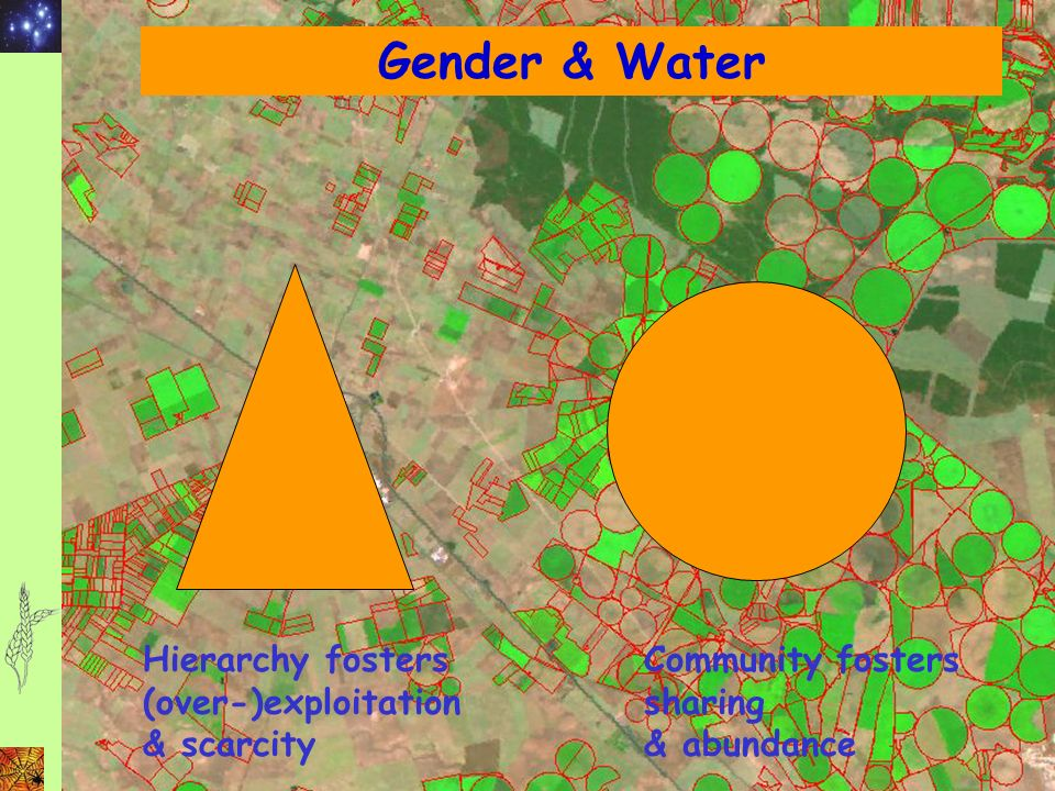 Gender & Water Hierarchy fosters (over-)exploitation & scarcity Community fosters sharing & abundance