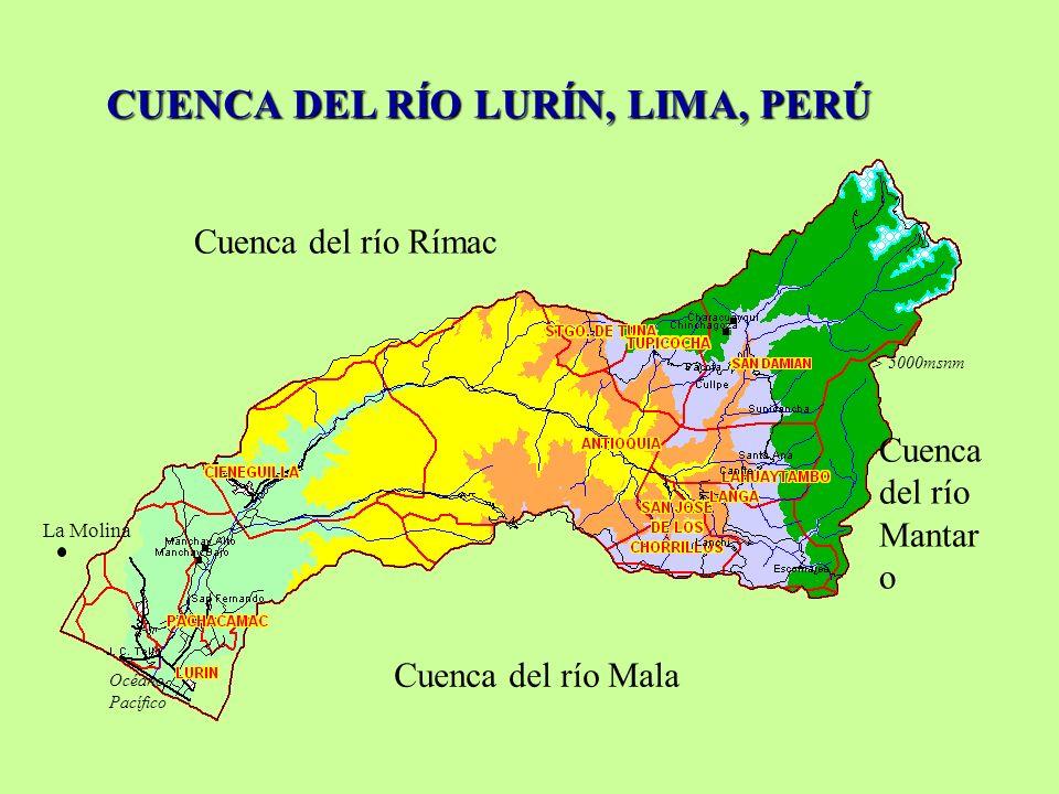 CUENCADEL RÍO LURÍN, LIMA, PERÚ CUENCA DEL RÍO LURÍN, LIMA, PERÚ Cuenca del río Rímac Cuenca del río Mala > 5000msnm La Molina Océano Pacífico Cuenca