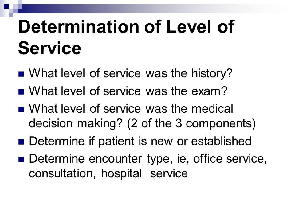 Determination of Level of Service What level of service was the history? What level of service was the exam? What level of service was the medical dec
