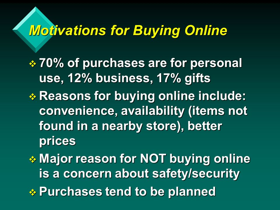 Motivations for Buying Online v 70% of purchases are for personal use, 12% business, 17% gifts v Reasons for buying online include: convenience, availability (items not found in a nearby store), better prices v Major reason for NOT buying online is a concern about safety/security v Purchases tend to be planned